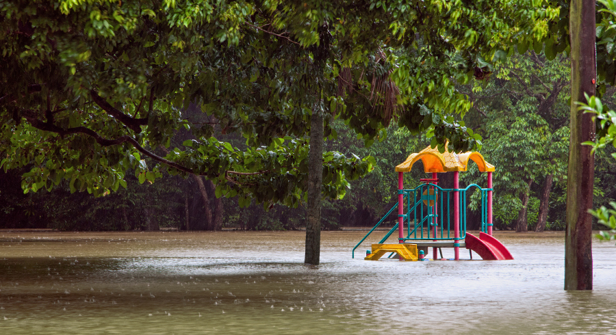 Flooded playground as a result of heavy rainfall